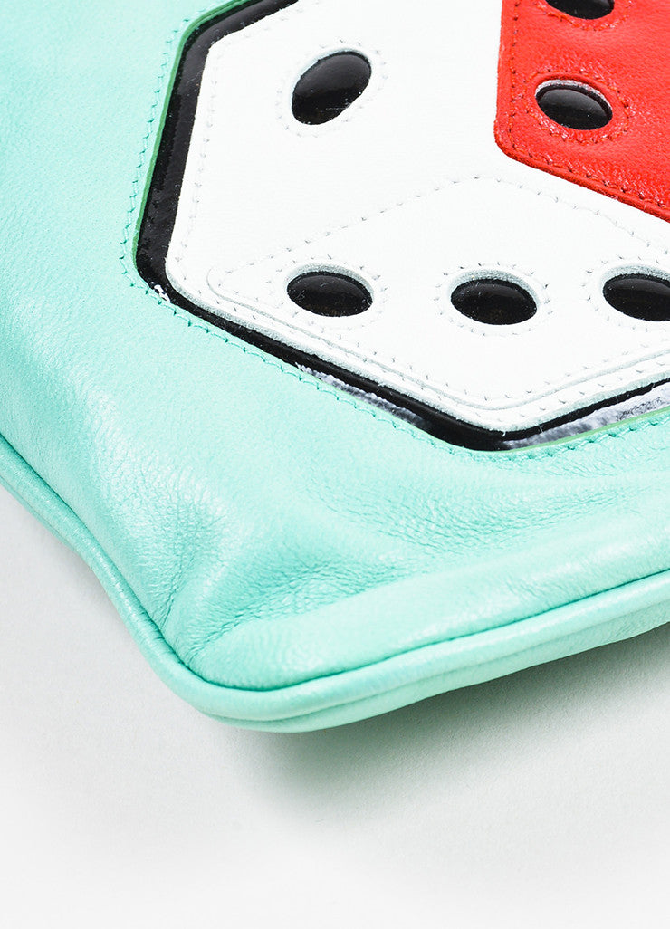 Prada Turquoise, Red, and White Leather Dice Patch Gold Toned Zip Clutch Bag Detail