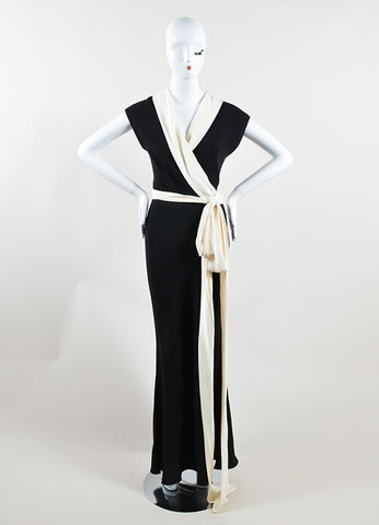 Ralph Lauren Black Label Black and Cream Silk Sash Tie Sleeveless Gown Frontview