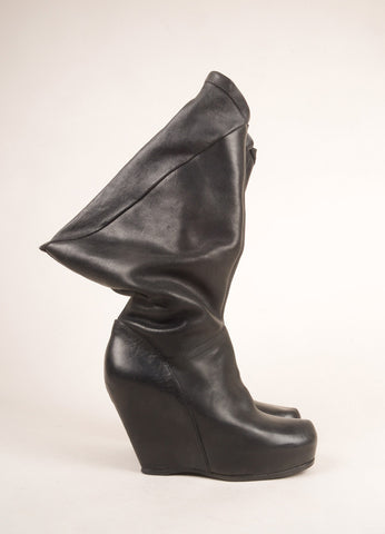 Rick Owens Black Leather Abstract Asymmetrical Knee High Wedge Boots Sideview