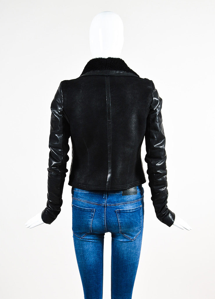 Rick Owens Black Leather Shearling Knit Insert Moto Jacket Backview