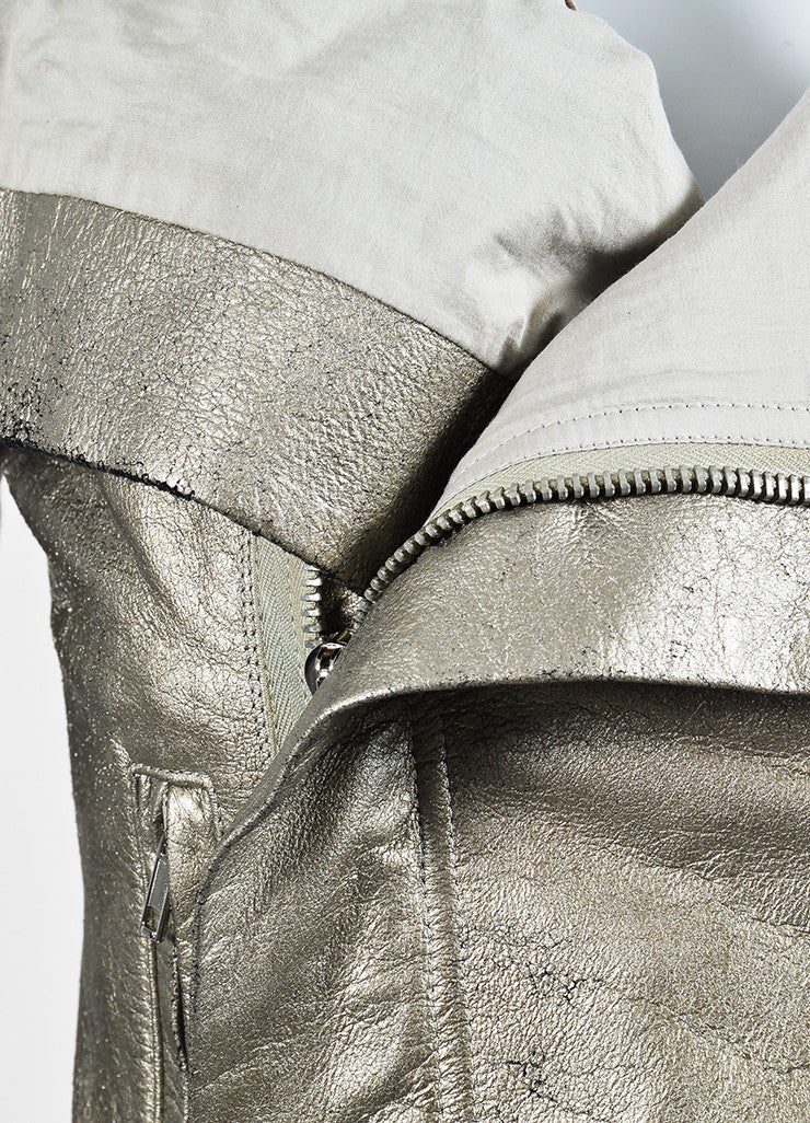 Rick Owens Metallic Gold Crackled Leather Wool Knit Zip Moto Jacket Detail