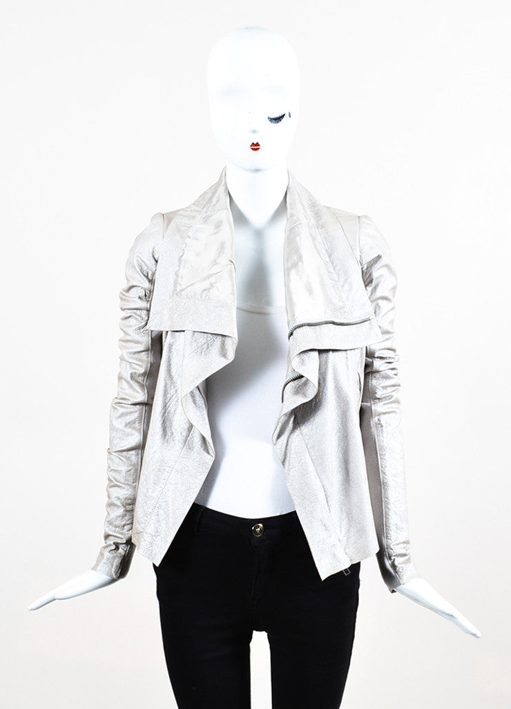 Rick Owens Taupe Metallic Zip Front Draped Leather Jacket Frontview