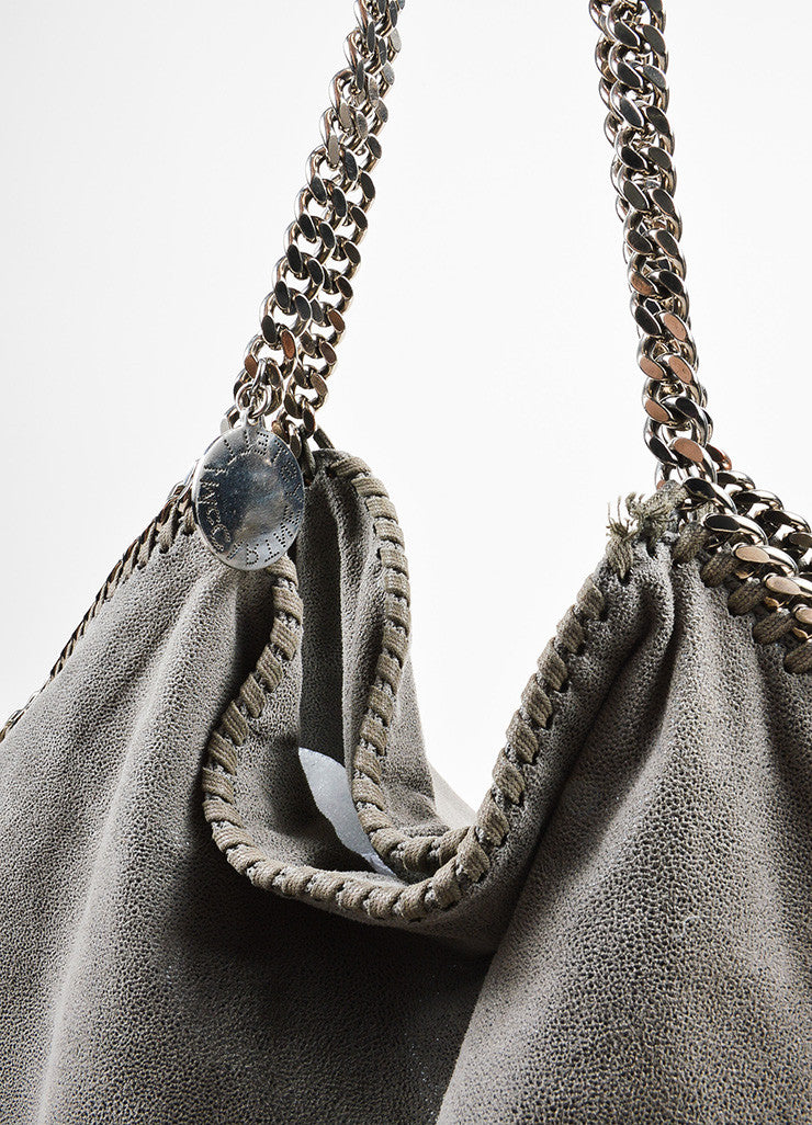"Grey Stella McCartney Faux Suede Silver Chain Trim ""Falabella"" Shoulder Bag"