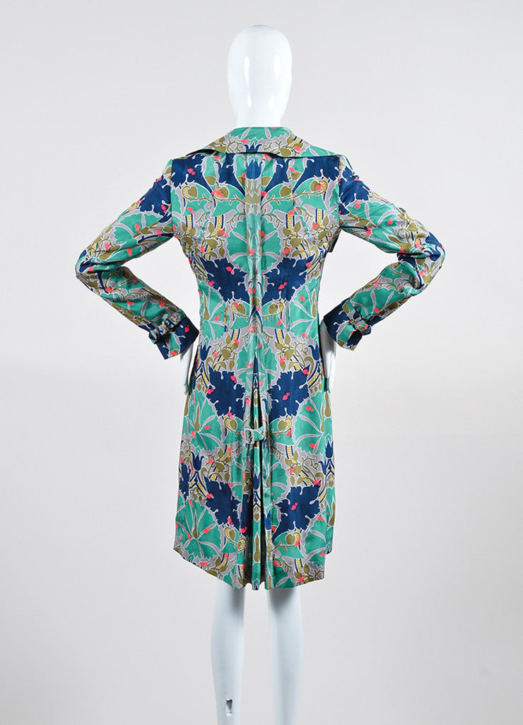 Green, Blue, and Pink Stella McCartney Silk Blend Printed Shirt Dress Backview