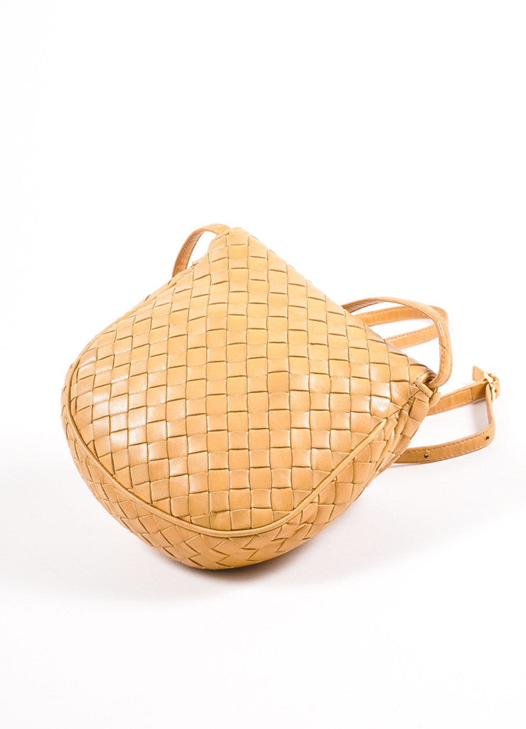 Bottega Veneta Tan Intrecciato Woven Leather Small Flap Cross Body Bag Backview
