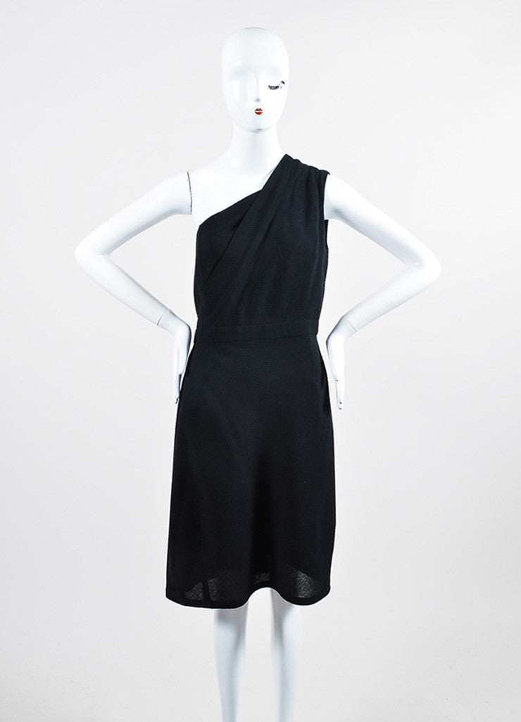 Black Chanel Crepe Wool One Shoulder Wrap Sheath Dress Frontview