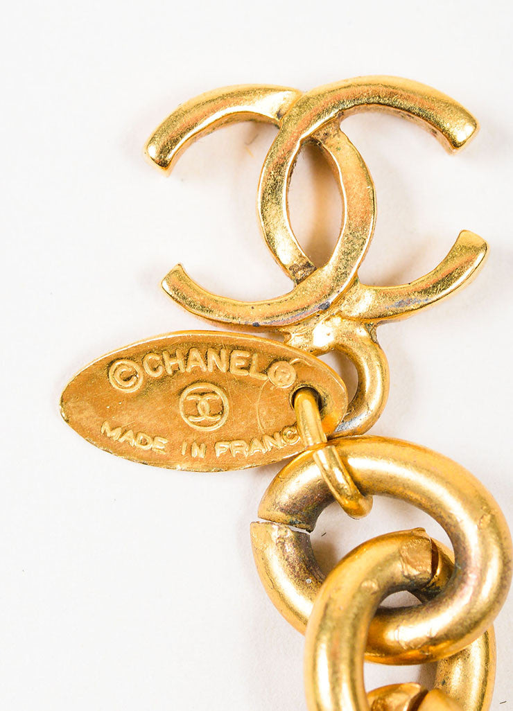 Gold and Green Chanel Gripoix Stone Medallion Bracelet Brand