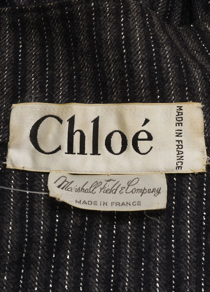 Chloe Black and Grey Silk and Wool Metallic Stripe Paneled Crop Sleeve Jacket Brand