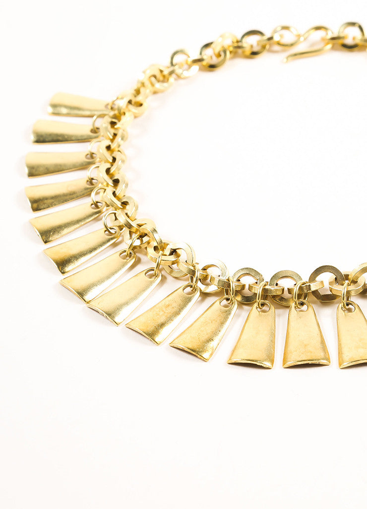 Vintage Gold Toned Dangle Bib Necklace Detail