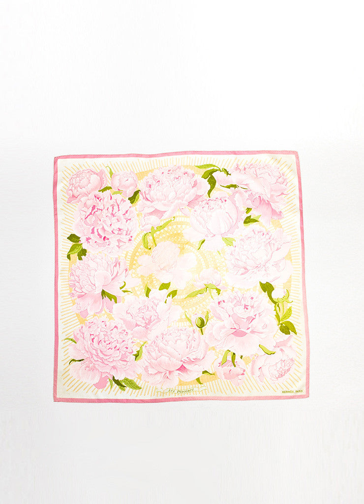 "Pink and Green Hermes Floral Print ""Les Pivoines"" Scarf Frontview 2"