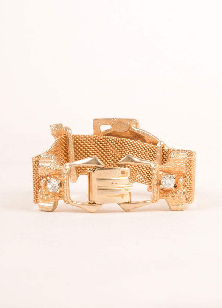 Hobe Gold Toned Metal Mesh Buckle and Rhinestone Accent Bracelet Backview