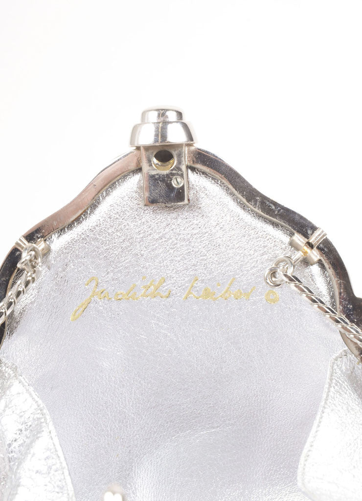 Judith Leiber Silver Toned and Purple Rhinestone Embellished Chain Strap Shell Clutch Bag Brand