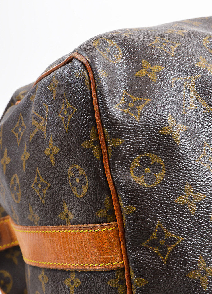 "Brown Louis Vuitton Coated Canvas ""Keepall Bandouliere 50"" Duffle Bag Detail"