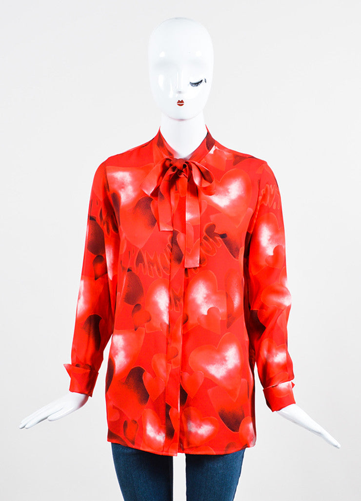 "Valentino Red Silk ""L'amour"" Heart Print Long Sleeve Blouse Frontview"