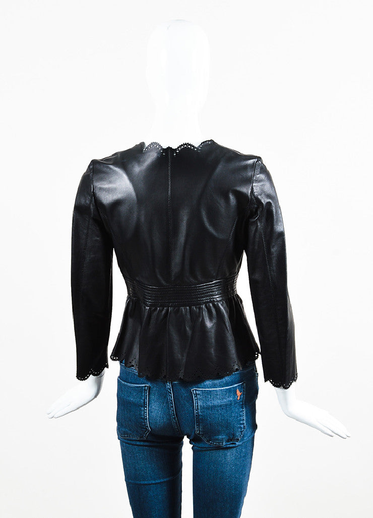Valentino Black Leather Bow Cropped Cut Out Scalloped Jacket Backview
