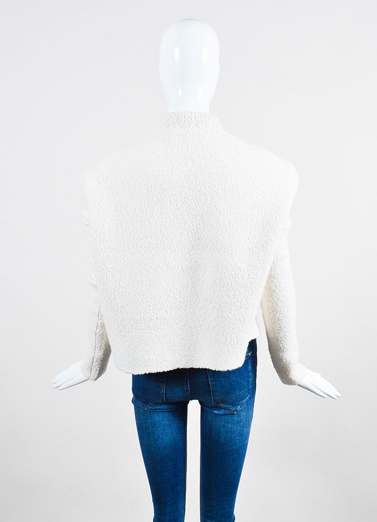 Cream Victoria Beckham Stretch Wool Boucle Crop Sweater Back