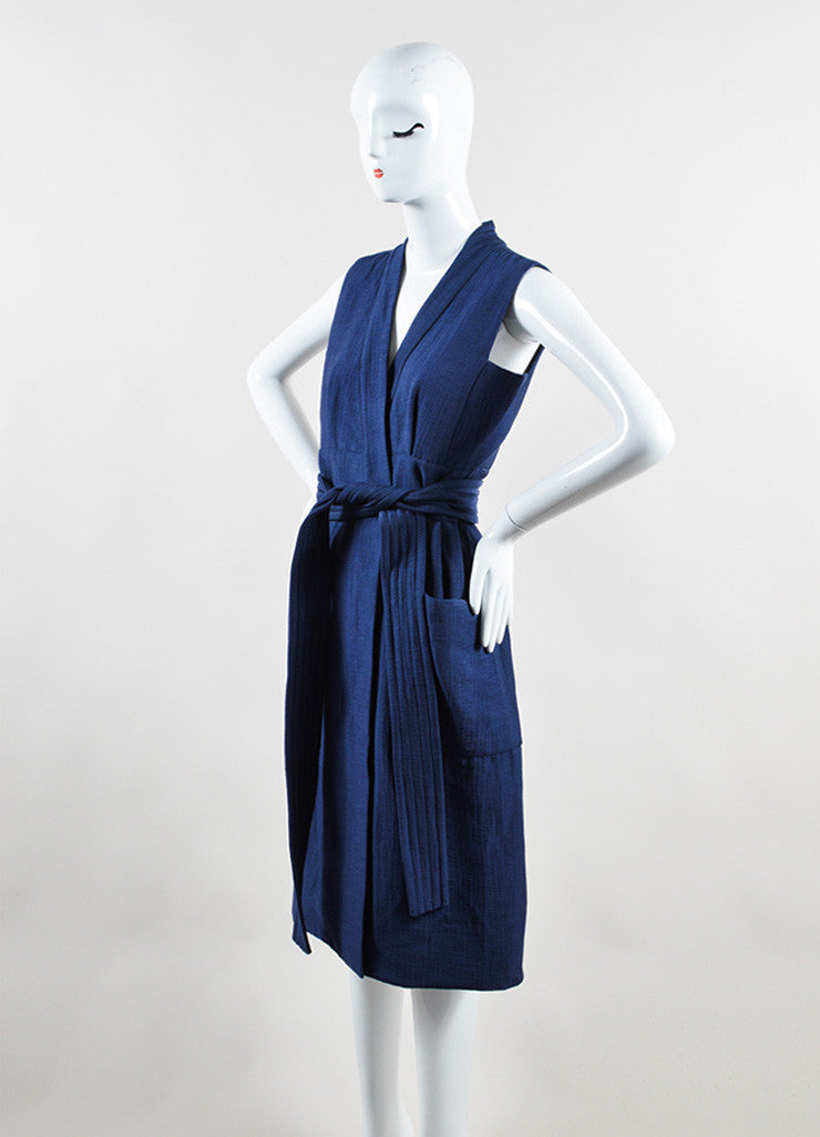 Victoria Beckham Blue Cotton Wool Matelasse Belted Sleeveless Dress Sideview