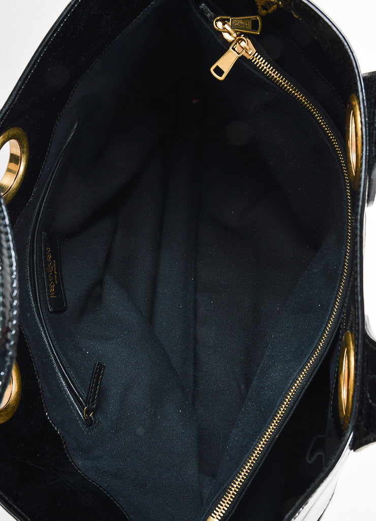 "Yves Saint Laurent Black Patent Leather Grommet Detail Embossed ""Sac Palma"" Tote Bag Interior"