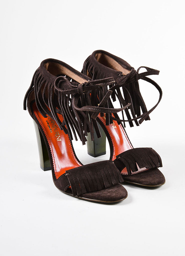 Brown and Green Yves Saint Laurent Suede Leather Fringe Chunky Heel Sandals Frontview