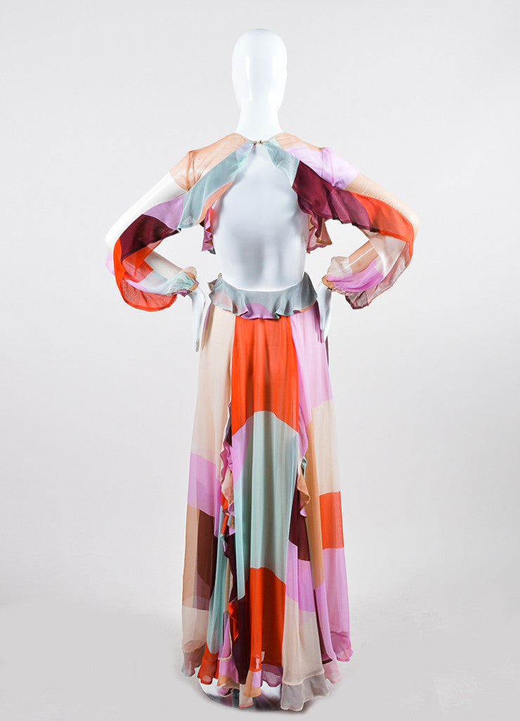 "Multicolor Zimmermann Pastel Chiffon ""Rhythm Flute"" Long Sleeve Gown Backview"