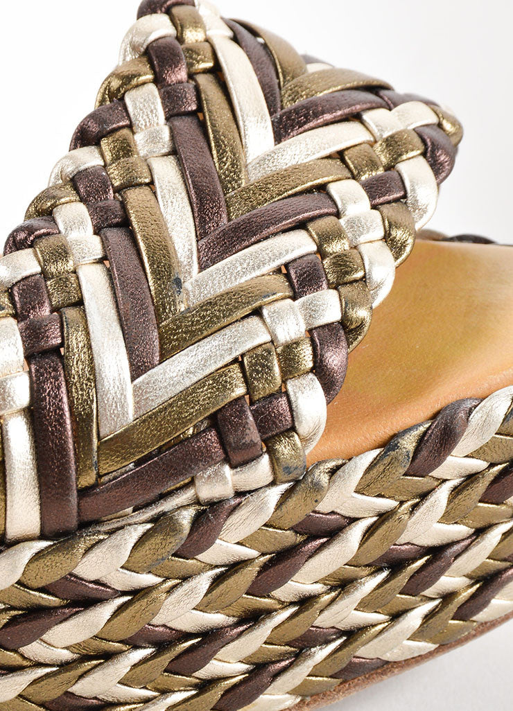 Hermes Brown, Olive and Cream Leather Metallic Braided Platform Wedge Sandals Detail