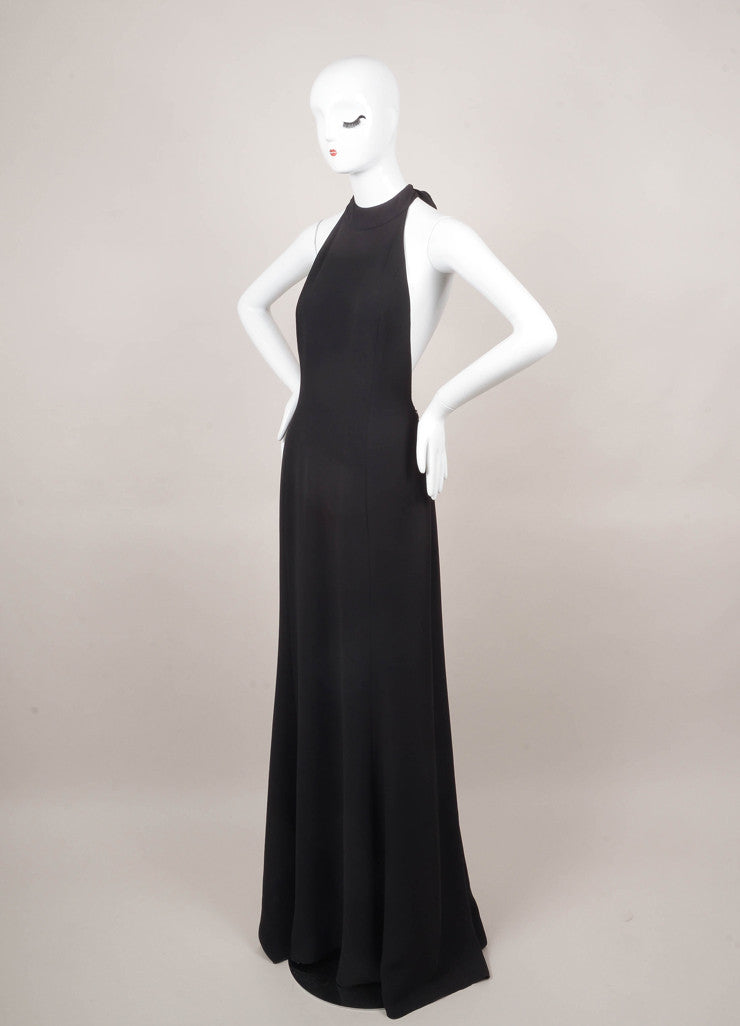 New With Tags Black Silk Halter T-Back Gown