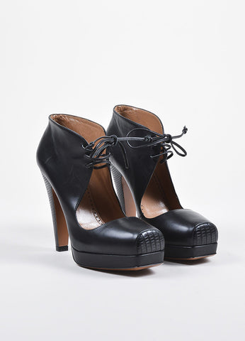 Alaia Black Leather and Lizard Lace Up Cutout Booties Frontview