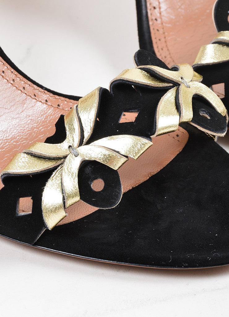 Black and Gold Toned Alaia Suede Leather Cut Out High Heel Sandals Detail