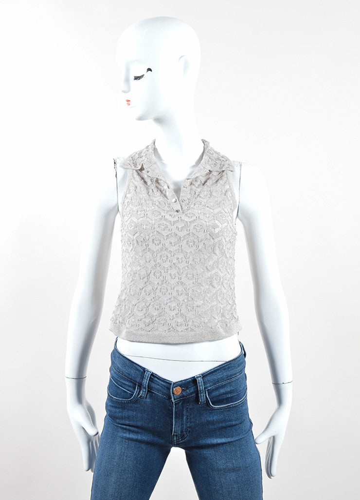 Silver Metallic Knit Crochet Semi Sheer Collared Tank Top