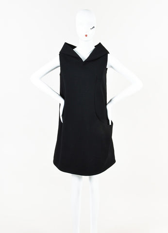 Alexander McQueen Black Wool Crepe Sleeveless Wide Collar Shift Dress Front