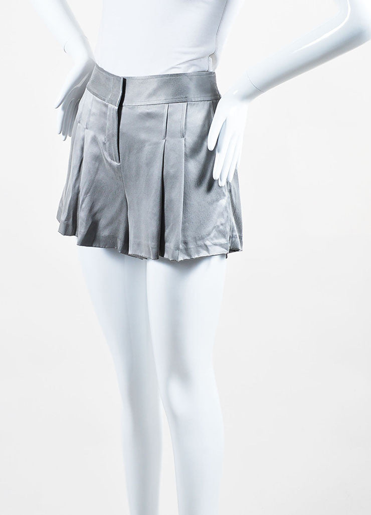 Grey Alexander Wang Silk Pleated Zipped Shorts Sideview