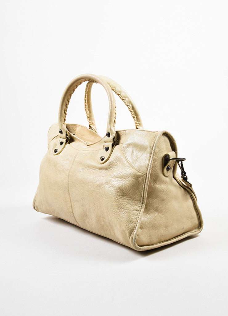 "Beige Balenciaga Leather ""Classic Part Time"" Bag With Shoulder Strap Sideview"