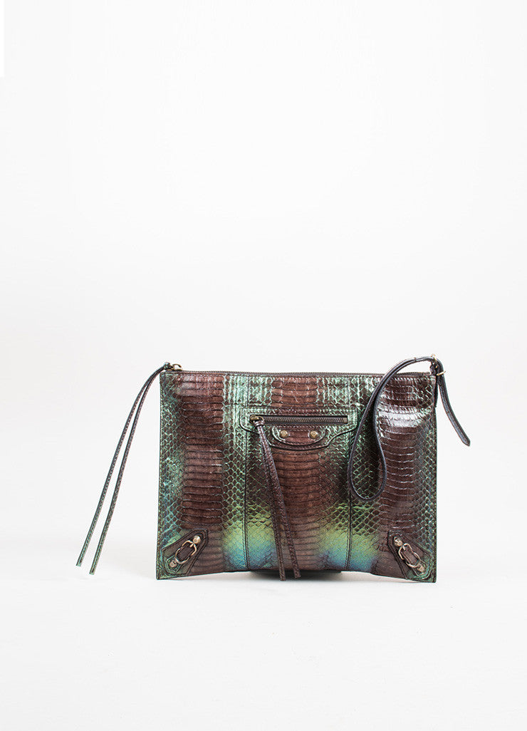 "Brown and Green Balenciaga Python Ombre ""Milky Way Papier"" Wristlet Clutch Bag Frontview"