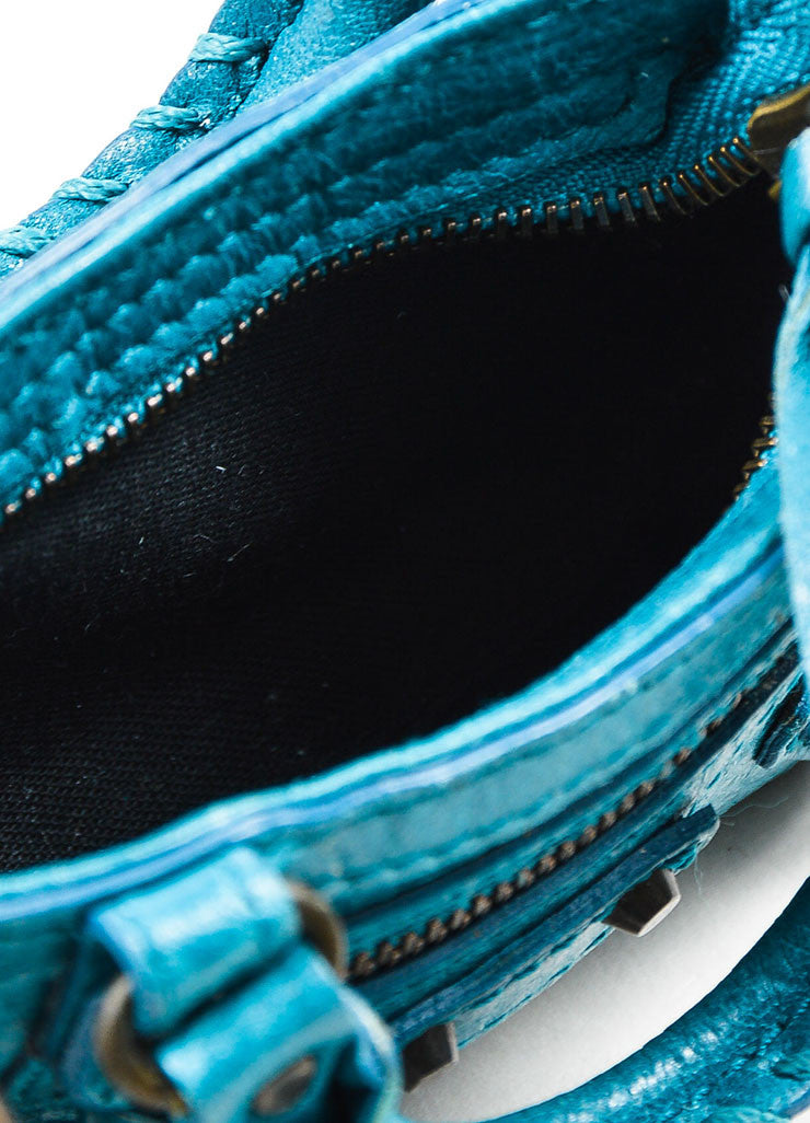 "Balenciaga Teal Blue Leather Studded Classic Mini ""Tiny First"" Bag Key Ring Interior"