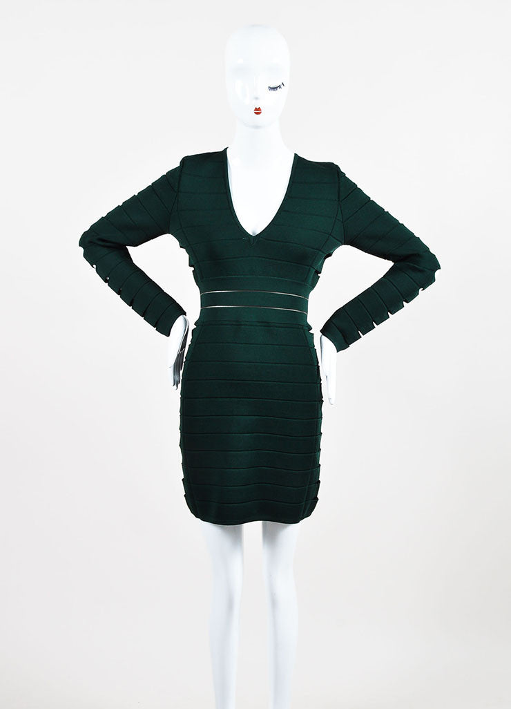 Balmain Forest Green Stretch Knit Side Cut Out Long Sleeve Bandage Dress Frontview