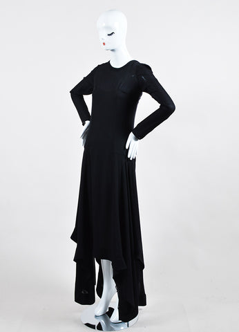 Black Barbara Bui Silk Asymmetric Handkerchief Hem Long Sleeve Dress Sideview