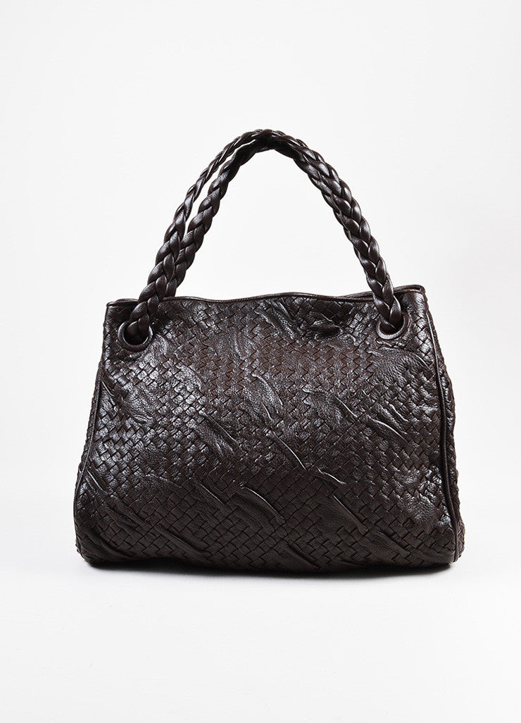 Bottega Veneta Brown Leather Woven Braided Handle Slouchy Hobo Shoulder Bag Frontview