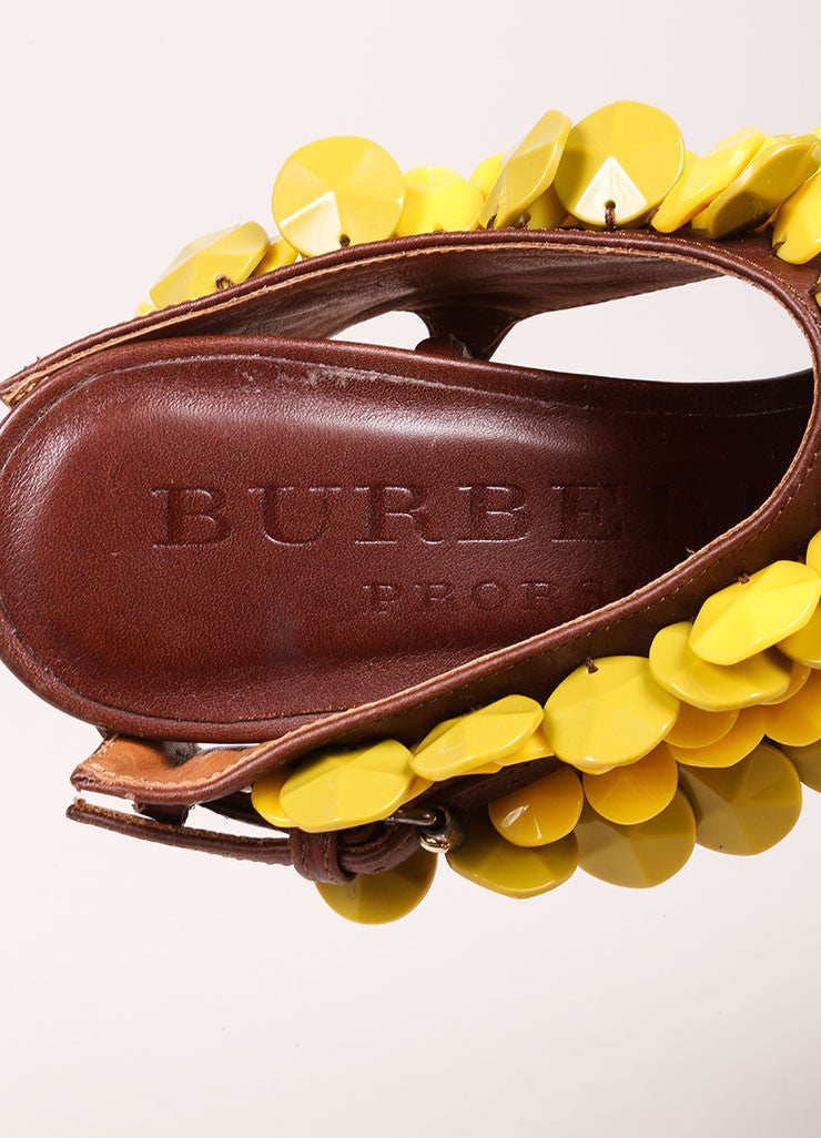 "Burberry Prorsum Brown and Yellow Beaded T-Strap Leather Kitten Heel ""Ligonier"" Sandals Brand"
