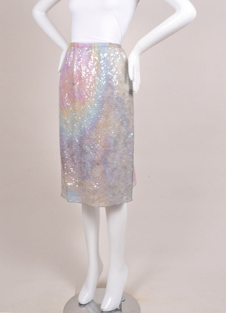 Carven New With Tags Lavender and Green Silk Sequin Embellished Straight Skirt Sideview