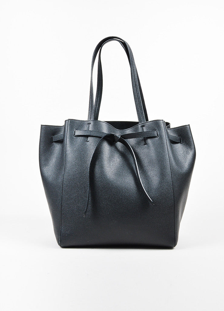 "Black Leather Celine ""Small Cabas Phantom Belt Tote"" Bag"