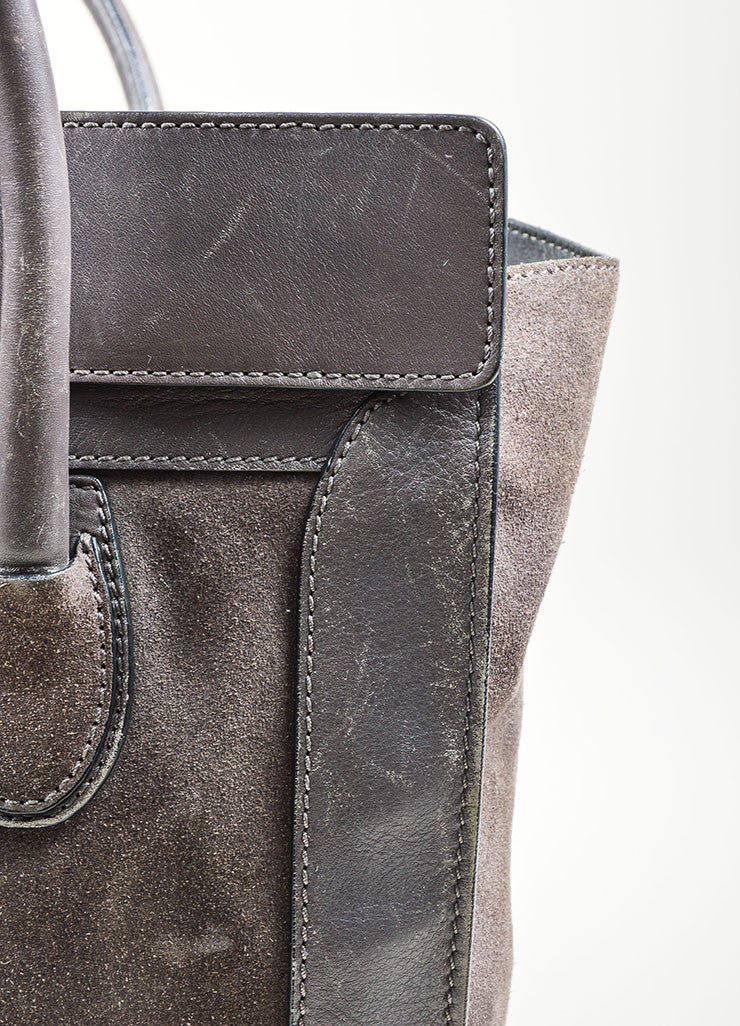 Grey Celine Suede and Leather Mini Luggage Tote Bag Detail 4