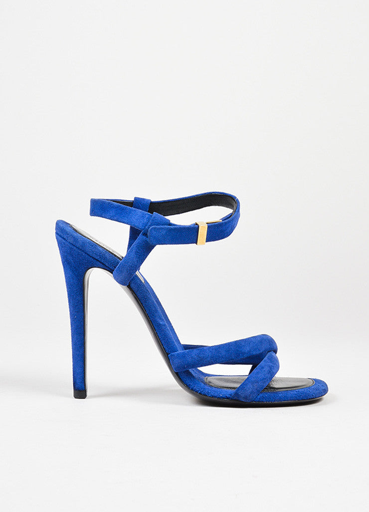 Dark Blue Celine Suede Leather Cross Strap Heeled Sandals Sideview