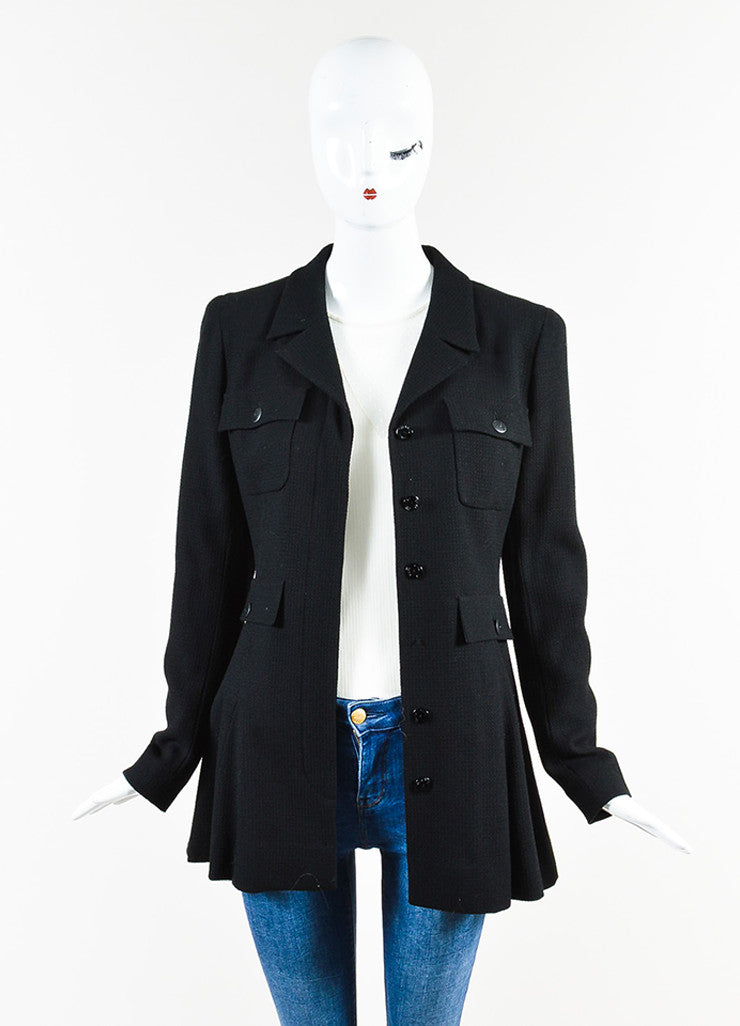Chanel Black Wool Waffle Weave Utilitarian Button Pocket Jacket  Frontview