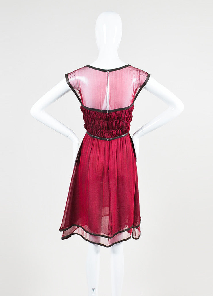Chanel Burgundy Silk Chiffon Brown Leather Trimmed Sleeveless Dress Backview