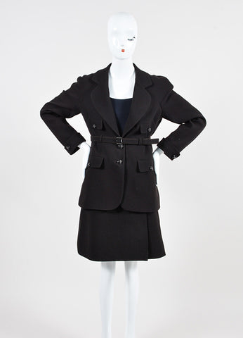 Dark Brown Chanel Wool Belted Jacket and Short Skirt Two Piece Suit Frontview