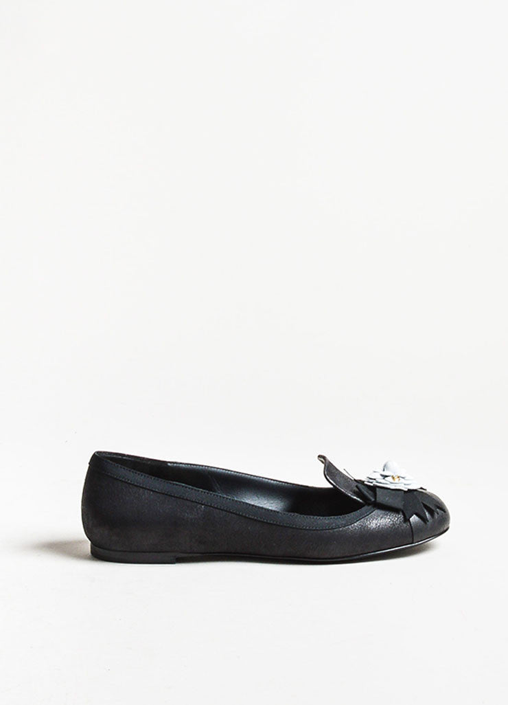 Black Chanel Leather White 'CC' Camellia Flower Loafers Side