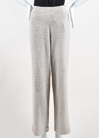 Chanel Taupe Grey Silk Looped Woven Wide Leg High Waisted Pants Frontview