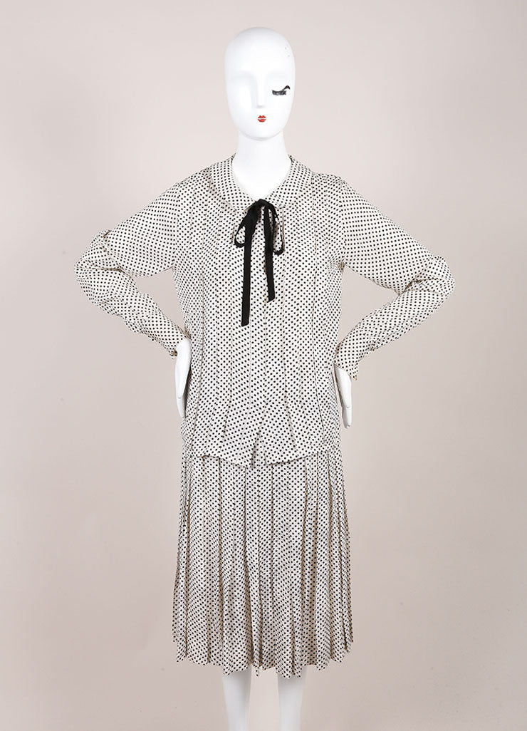 Chanel Cream and Black Silk Jacquard Polka Dot Print Blouse Top, Skirt and Scarf Set Frontview