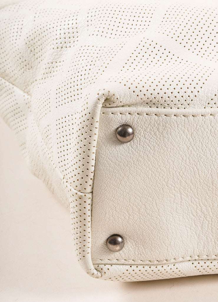"Chanel Off-White Perforated Leather ""CC"" Patch Tote Bag Detail"