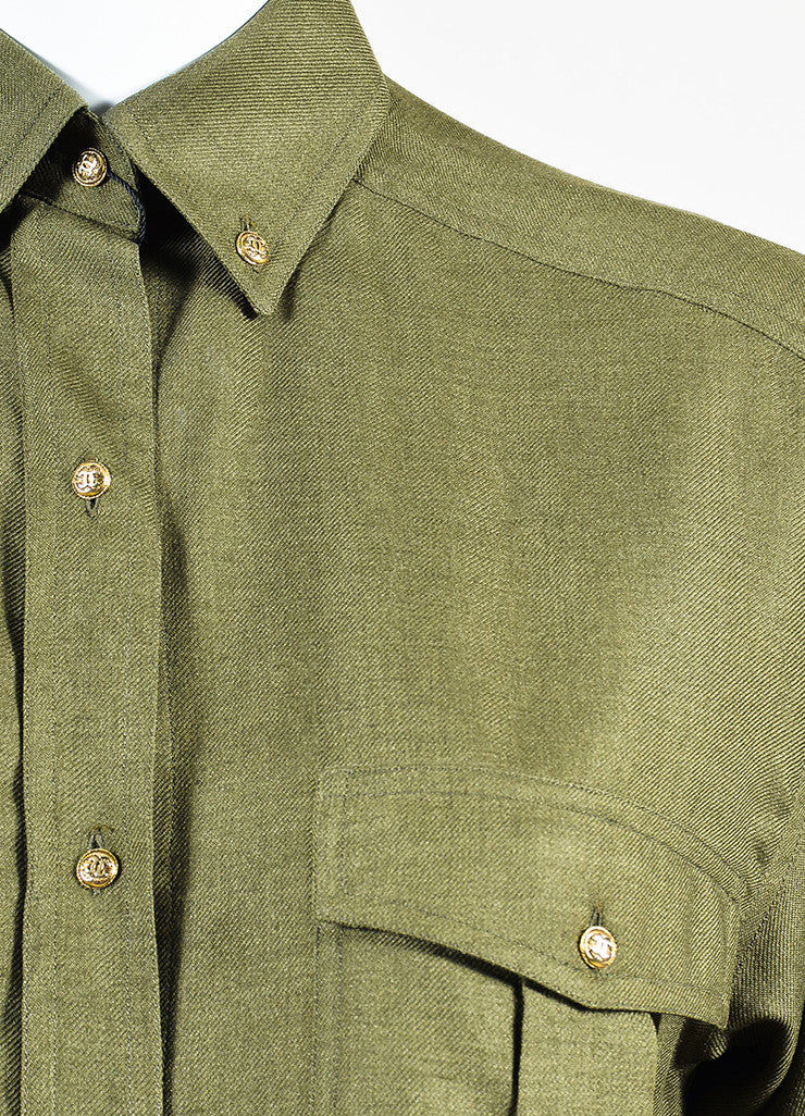 Chanel Olive Green Gold Toned 'CC' Button Long Sleeve Shirt Detail